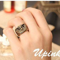 Vintage Personalized Owl Animal Band Ring