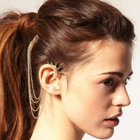Studded Spikes Ear Cuff & Comb - Gold