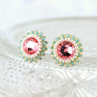 Pink peach mint green ivory stud earrings - swarovski crystal delicate button earrings - spring bridesmaid everyday jewelry unique gift