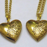Gold Heart Shaped Friendship or Sister Locket Necklaces Set of 2