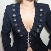 Navy blue waistcoat sexy jacket with skulls by rockfabricscissors
