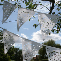 Christmas Wedding garland, Winter White vintage style bunting