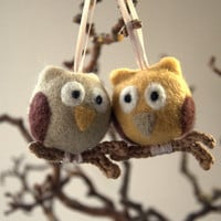 Christmas ornaments needle felted 2 owls crochet branch taupe gray tan beige eco friendly gift  wool children fun fantasy ball Valentine day