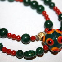 Vintage Necklace Chinese Malachite Salmon Coral Bead 1940s Jewelry
