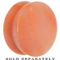 "7/8"" Semi-Precious Peach Jade Double Flare Stone Plug 