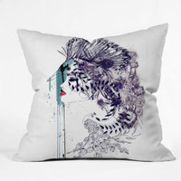 Amazon.com: DENY Designs Holly Sharpe Peacock Girl II Throw Pillow, 16-Inch by 16-Inch: Home & Kitchen