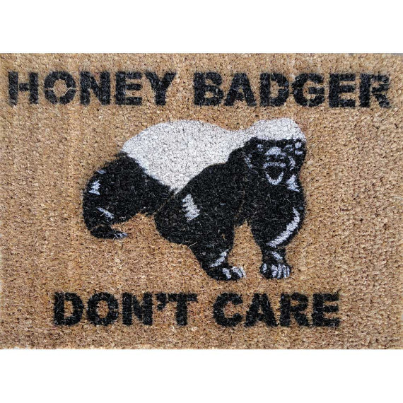 Honey Badger Don't Care Doormat under 50 by damngooddoormats