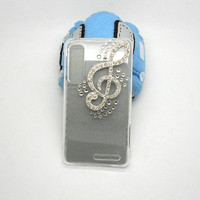 Handmade hard case for Motorola Droid 3: Bling music note (customized are welcome)