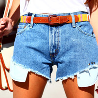 Light Denim Highwaisted Cutoff Studded Jean Pocket Shorts - All Hangin' Out
