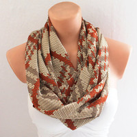 Infinity Scarf - Loop Scarf - Circle Scarf - Cowl Scarf - Soft and Lightweight Chevron Scarf