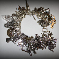 Inspired by Grimm Brother&#x27;s Disneyesque Fairy Tale Mega Bracelet 40 Charms Cinderella Snow White Mermaid and more