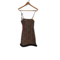 Medium Tan Leopard Cheetah Cat Women Sequin Nighty Camisole