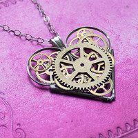 "Mechanical Heart Necklace ""Charm"" Elegant Industrial Heart Steampunk Necklace Clockwork Love Sculpture by A Mechanical Mind"