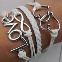 White wax rope bracelet, hope, love, have mutual affinity Bracelet