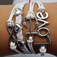 Love unlimited hope karma Mini anchor love Bracelet Silver Bracelet white wax line, white Braided Leather Bracelet
