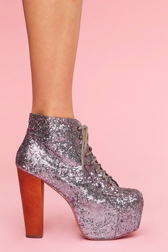 Lita Platform Boot - Pewter Glitter in Shoes at Nasty Gal