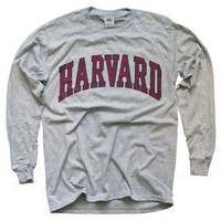 Harvard University T-Shirt, Officially Licensed Long-Sleeve College Athletic Tee, Gray S