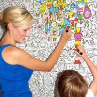 Switched On Set: Maiden x Jon Burgerman D I Y Colour-in Wallpaper