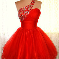 RED COCKTAIL HOMECOMING EVENING PAGEANT SHORT PARTY WEDDING GOWN DRESS XS 2/4