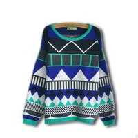 Geometric diamond-shaped color stripes loose knit sweater from Fashion Accessories Store