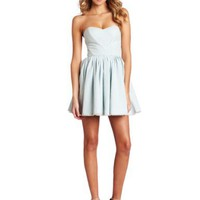 Betsey Johnson Women's Seersucker Strapless Dress, Seafoam, 6