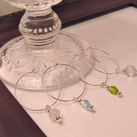 Gemstone and Glass Wine Charms / Stemware Charms Set in 4 Pastel Colors