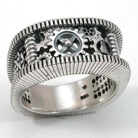 Mens Steam Punk Sterling Silver Ring Gears by SwankMetalsmithing