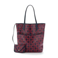 Coated canvas tote and coin purse
