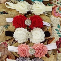 Gorgeous Double Shabby Chic Headband with Rhinestone Center - 7 Colors to Choose from!