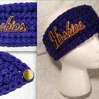 Crochet University of Washington Purple & Gold Medium Headband Ear warmer