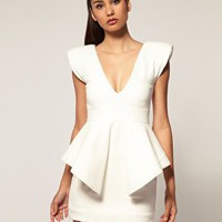 Aqua | Aqua Claudia Structured Peplum Mini Dress at ASOS