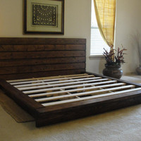 KING size bed rustic look by ArtisanWood11 on Etsy