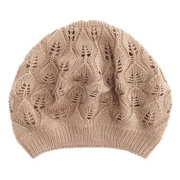 Leaf Beret Knitting Pattern : Leaf Patterned Knit Beret: Charlotte Russe