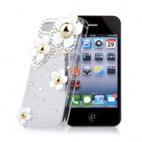 Iphone 4/4s Case Handmade more Zircon \4 Flower\ Transparent [#00300010] - US$12.56 : Amazplus.com