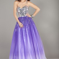 Jovani 6432 Purple Ombre Strapless Ball Gown