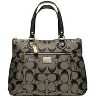 Coach Signature Poppy Glam Shopper Bag Purse Tote 17890 Black Gold