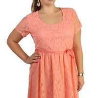 plus size allover lace high low peach dress - debshops.com