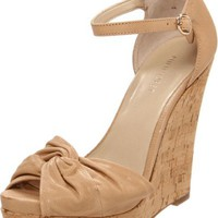 Nine West Women's Letitgo Wedge Sandal,Light Natural Leather,7.5 M US