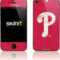 Skinit Philadelphia Phillies - Solid Distressed Vinyl Skin for Apple iPhone 4 / 4S