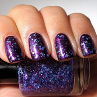 Delighted - Periwinkle Magenta Purple Glitter Nail Polish - Full Size