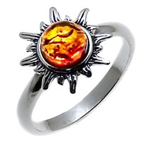 Certified Genuine Honey Amber and Sterling Silver Flaming Sun Ring, Sizes 5,6,7,8,9,10,11,15