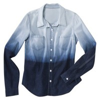 Mossimo Supply Co. Juniors Long Sleeve Button Down Shirt - Ombre Wash