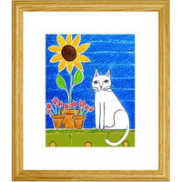 Cat Sitting on Garden Bench Illustration by MyDifferentStrokes