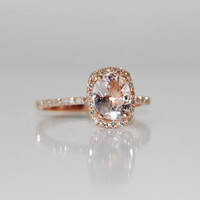 ON HOLD -2ct Cushion ice peach champagne color change sapphire in 14k rose gold diamond ring engagement ring
