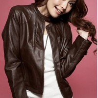 Wholesale Stand Collar Zipper Leather Jacket Coffee