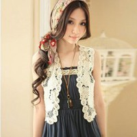 Graceful and Distinctive Crochet Design Off-White Lace Sleeveless Waistcoat China Wholesale - Sammydress.com