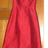 Theory Red Orsolya Brocade Strapless Dress Size 0