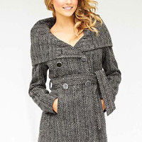 Belted Herringbone Coat With Hood at Alloy