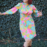 60s plus size mod dress / hippie pink by thewitcheryvintage