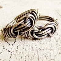 Satin Finished Sterling Ring Antiqued Love Knot Infinity Ring